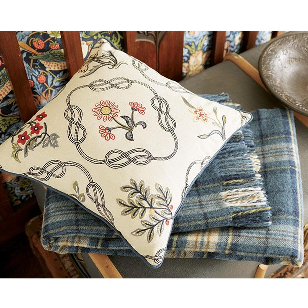 William Morris Trellis: William Morris Strawberry Thief Kelmscott Trellis Cushion