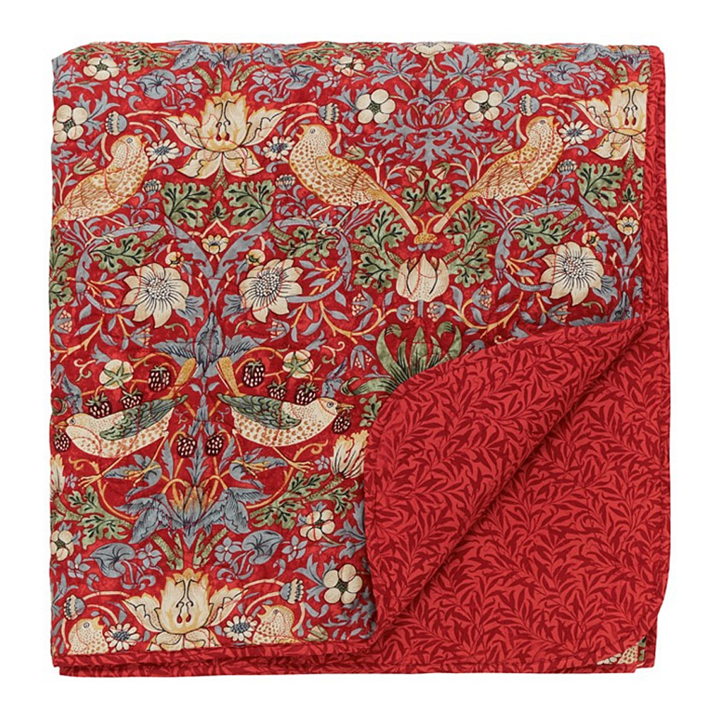 William Morris Strawberry Thief Quilted Throw Jarrold, Norwich
