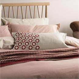 Murmur Pencil Stripe Quilt Cover: Red & Linen