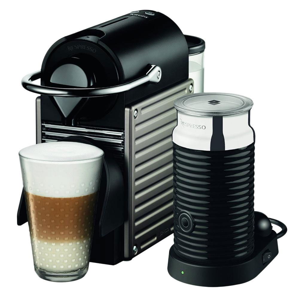Krups nespresso pixie with aeroccino titanium jarrold for Kitchen 17 delivery
