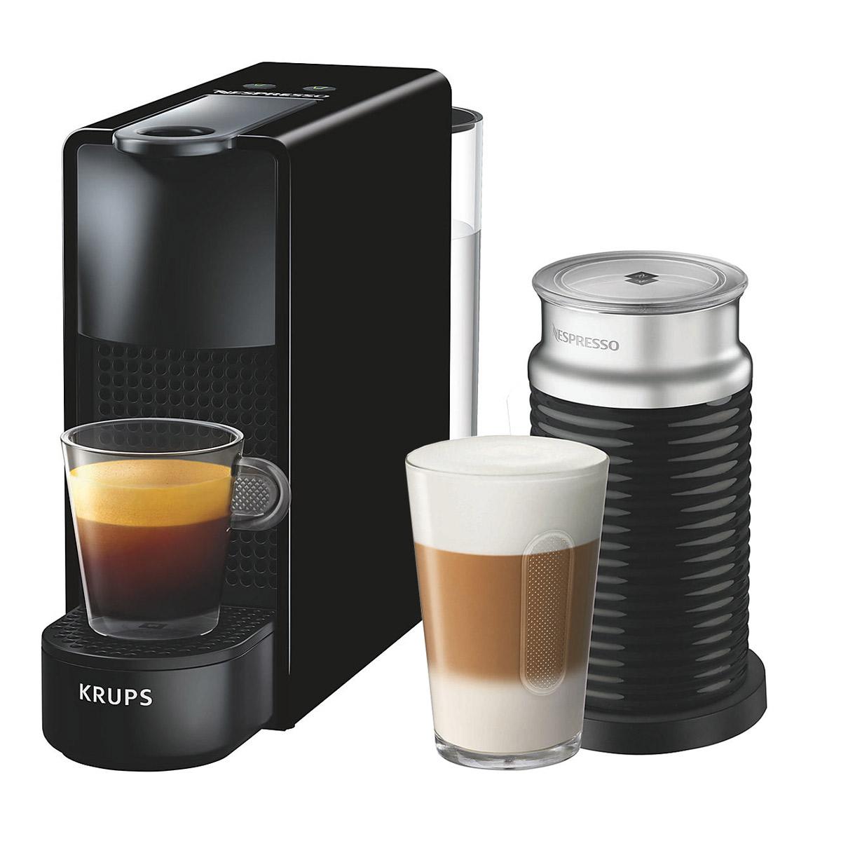 krups nespresso essenza mini coffee machine with aeroccino black