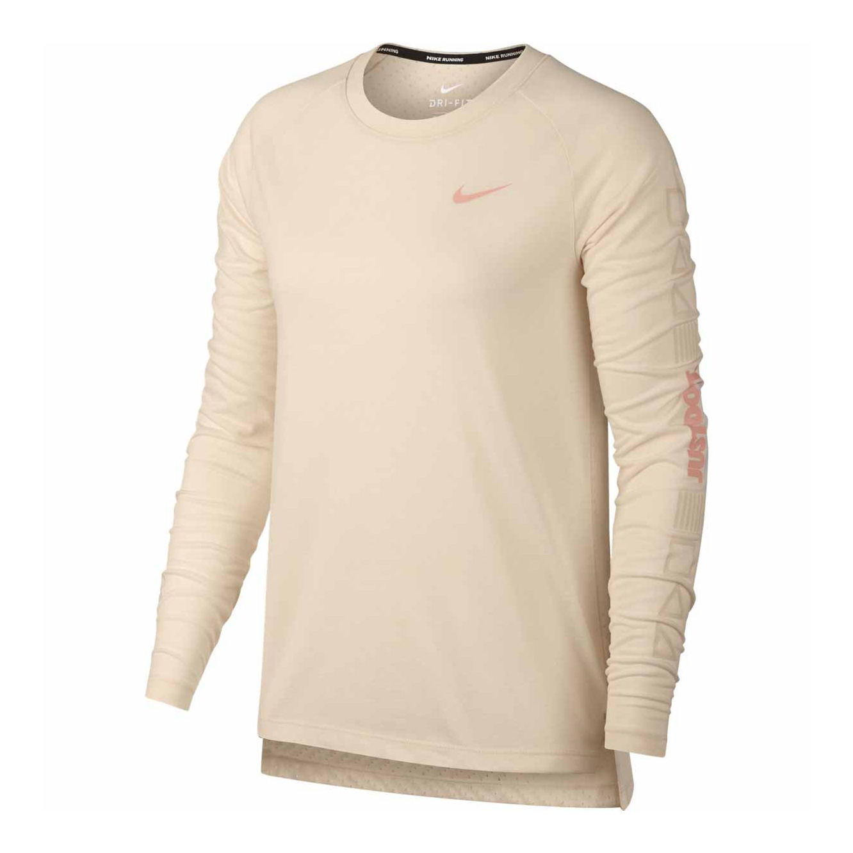 376ba3f44884ae Nike Women's Tailwind Long Sleeve T-Shirt- Guava Ice | Womens ...