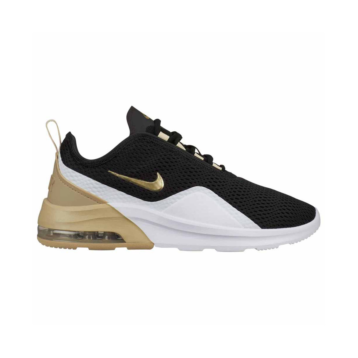best website ff5a2 d2f0e Nike Womens Air Max Motion 2 Trainers Black Gold Star