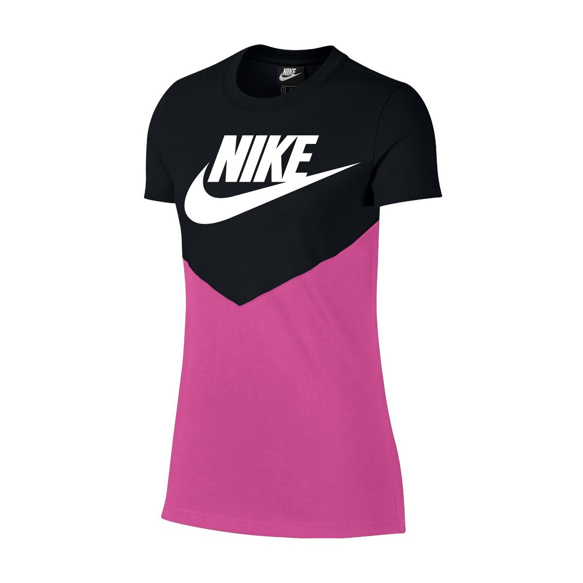 ef467024 Nike Womens Heritage Vintage Short Sleeve T Shirt Black Active Fuchsia