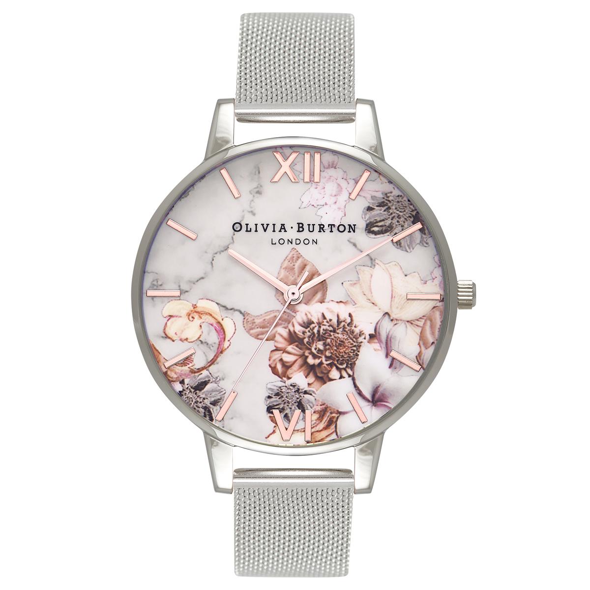 ab86604b539b Olivia Burton Marble Floral Rose Gold   Silver Mesh Watch