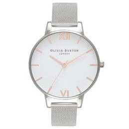 Olivia Burton White Dial Rose Gold & Silver Mesh Watch
