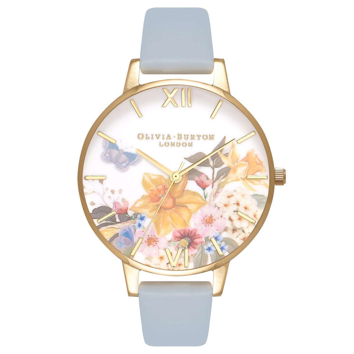 Olivia Burton Enchanted Garden Chalk Blue   Gold Watch  7e7bbdaa76