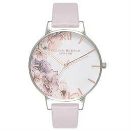 Olivia Burton Watercolour Florals Grey Lilac, Rose Gold & Silver Watch