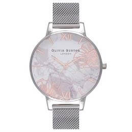 Olivia Burton Abstract Florals Silver Mesh Watch