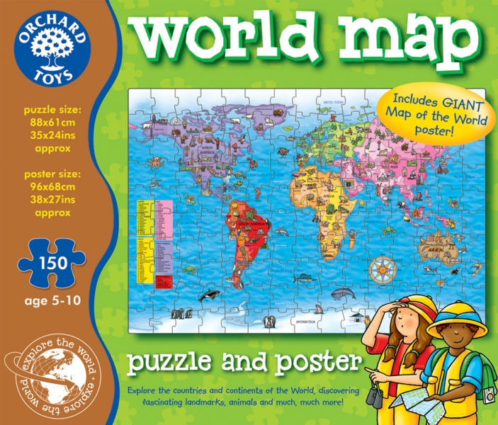 Orchard toys world map puzzle and poster jigsaw puzzles jigsaw orchard toys world map puzzle and poster gumiabroncs Gallery