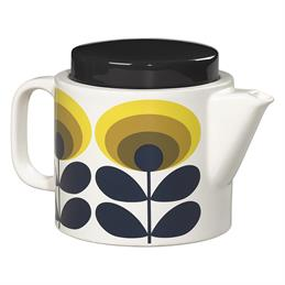 Orla Kiely Ceramic Teapot: 70's Oval Flower - Yellow