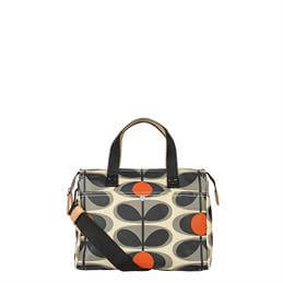Orla Kiely Laminated Flower Oval Small Zip Messenger Bag