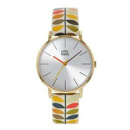 Orla Kiely Patricia Watch with Gold Case and Stem Print Leather Strap
