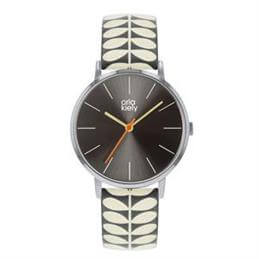 Orla Kiely Patricia Watch with Polished Silver Case and Grey Stem Print Leather Strap