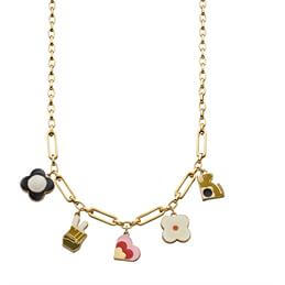 Orla Kiely Camille Gold Plated Multi Charm Necklace