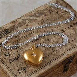 Otis Jaxon White Topaz & Gold Heart Locket