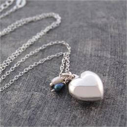 Otis Jaxon Pearl & Silver Heart Locket Necklace