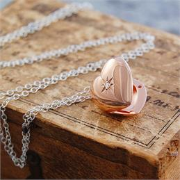 Otis Jaxon Rose Gold with White Topaz Heart Locket