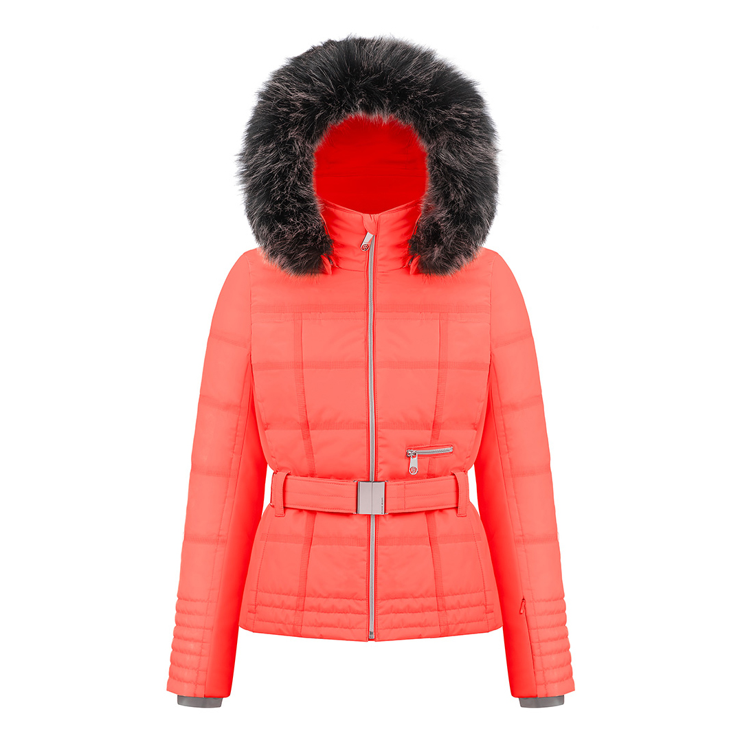 Poivre Blanc Women s Stretch Belted Ski Jacket with Faux Fur 18 b2faae963