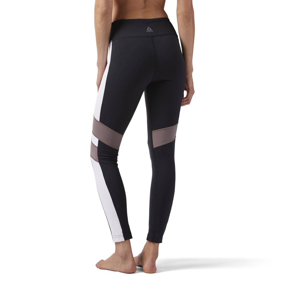 7c53d78df86d03 Reebok Women's Lux Colour Block Leggings- Black   Womens Fitness ...
