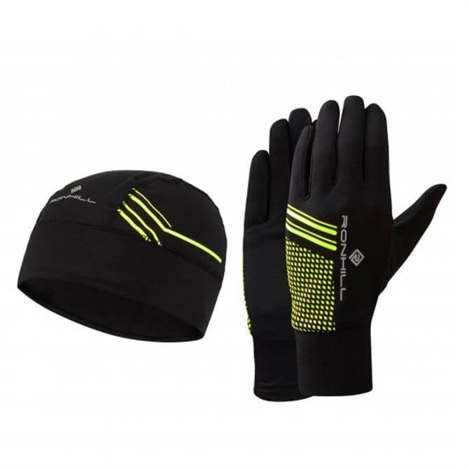 Ronhill Fluorescent Beanie and Gloves Set- Black and Yellow