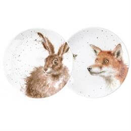 Royal Worcester Wrendale Fox & Hare Set Of 2 Coupe Plates