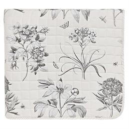 Sanderson Options Etchings & Roses Quilted Throw: Dove Grey