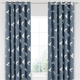 Sanderson Home Paper Doves Denim Lined Curtains