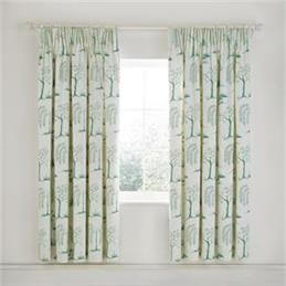 Sanderson Home Aqua Willow Tree Lined Curtains