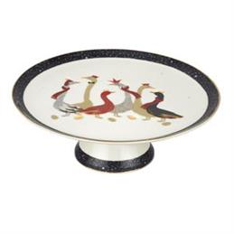 Sara Miller Geese Christmas Collection Footed Cake Plate