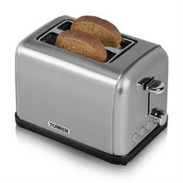 Tower 2 Slice Stainless Steel Toaster T20002