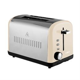 Tower 2 Slice Toaster: Cream & Stainless Steel
