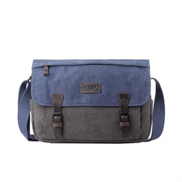... Troop London Classic Waxed Canvas Messenger Bag - Blue db5f08e49f2d9