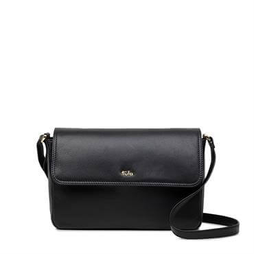 7dda681d76 Tula Black Nappa Originals Medium Flapover Cross Body Bag