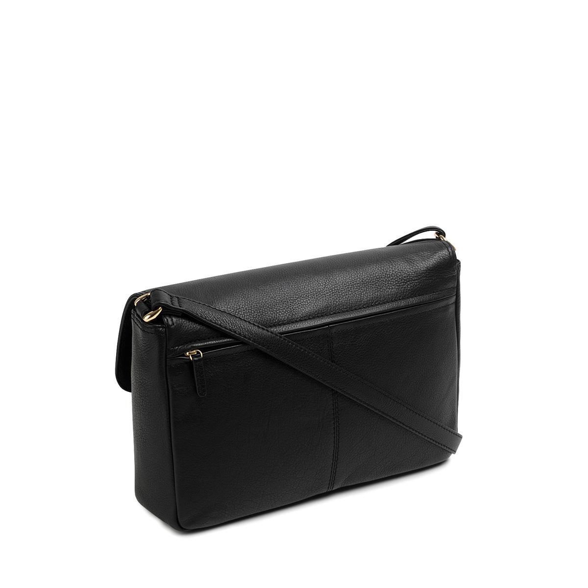 92f20725e8 Tula Black Nappa Originals Medium Flapover Cross Body Bag