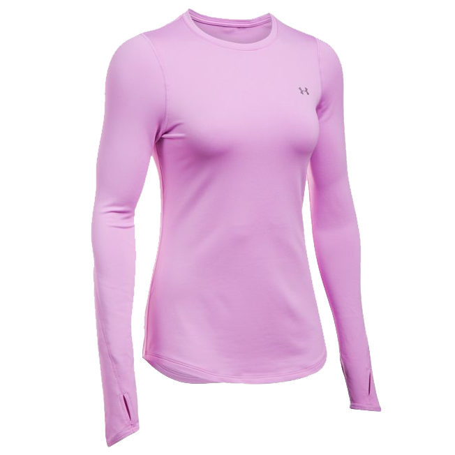 77371308a Under Armour Women's ColdGear Fitted Long Sleeve Crew- Pink | Womens ...