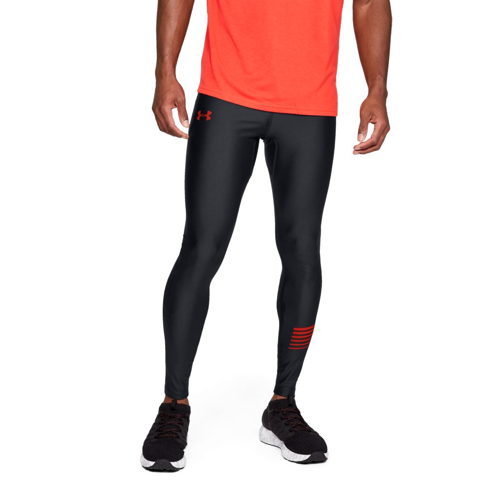 ecc207ca079043 Under Armour Men's HeatGear Run Graphic Tights- Black/Red | Mens ...